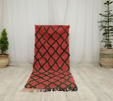 Vintage Moroccan Tribal Handmade Rug 3x7 Berber Geometric Red Green Wool Carpet