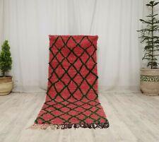 Vintage Moroccan Tribal Handmade Rug 3x7 Berber Geometric Red Green Wool Carpet