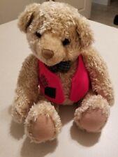 Tan Teddy Bear Stuffed Plush Hallmark Cards Sitting Red Vest Christmas Toy