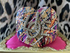 Betsey Johnson Harlem Shuffle Graffiti Art Heart LOVE Crystal Cuff Bracelet RARE