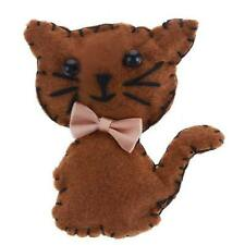 New Carded Brown Felt Cat Large Kitsch Padded Retro Vintage Style Brooch 7x5cm