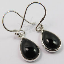 Natural BLACK ONYX Pear Gemstones 925 Solid Sterling Silver Hot Fashion Earrings