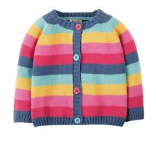 Frugi Kid's Organic Cotton Happy Day Cardigan in Pink Rainbow Stripe 2-3 Years
