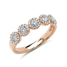 0.57 CT 14K Rose Gold 5 Stone Round Natural Diamond Halo Anniversary Ring Band