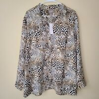 Chico's Size 3 XL Leopard Animal Print Button Up Blouse Black Brown Tan NWT