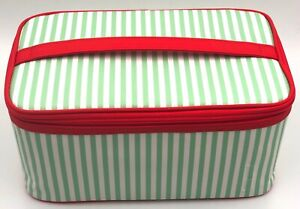 Clinique Makeup Cosmetic Train Case Bag ~ Green / White / Red ~ with Handle