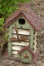 "Decorative Birdhouse Wood Shutter With Tin Roof And Dragonfly 8 3/4"" High"