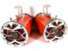 "1200 Watt BOSS Boat Wakeboard Tower Speakers ""Metallic Red"" -SJS Dezign UTV RZR"