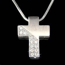 w Swarovski Crystal Modern Cross Jesus Christ Religious Jewelry Pendant Necklace