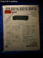 Sony Service Manual STR GX215 /GX315 /GX415 FM/AM Receiver (#4739)