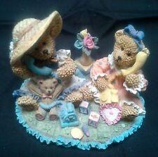 Adorable Girl Bears On The Phone Resin Figurine