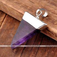 1x Pyramid Healing Point Reiki Chakra Gemstone Pendant Fit Necklace Amethyst 01-