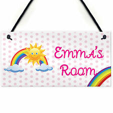 Rainbow Personalised Door Name Plaque Girls Bedroom Room Sign Princess Fairies