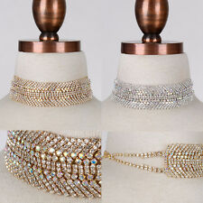 "Bling Rhinestone Crystal Princess Wide Choker NECKLACE Prom Wedding Dress 12"""