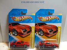 2012 Hot Wheels #22 Red 1985 Chevy Camaro Iroc-Z w/ & w/o Reversed Wheels