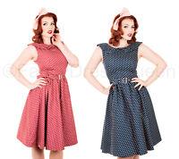 Red & Navy Blue Polka Dot Dress Swing Vintage Retro UK Sizes 8/10/12/14/16/18/20