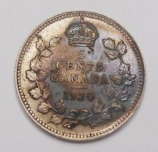 1920 Five Cents Silver EF Sharp HIGH Grade BETTER Date TONED George V Canada 5¢