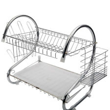2 Tier Stainless Steel Drying Rack Kitchen Dishes Bottle Drainer Strainer Multi