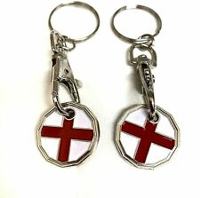 2 X England Design New Shape One Pound £1 Coin Token Keyring Shopping Trolley