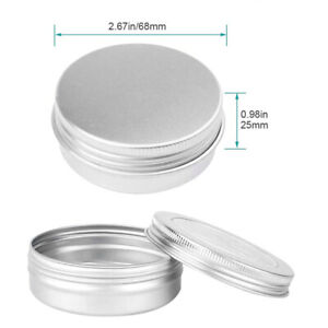 24pcs Small Mini Round Tin Can Box Metal Jewelry Keys Coins Container 60ml ZW