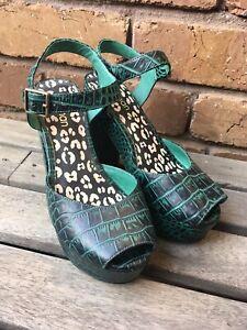 GORMAN Green Crocodile Tears Heels Size 37