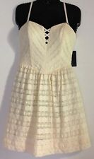Guess Women's Ivory Dot Lace Sheath Summer Party Dress Size 4 NWT