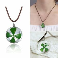 Real Dried Lucky Shamrock Clover Four Leaf Round Glass Bottle Pendant Necklace