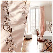 SALE! Designer 100% Silk Taffeta Embroidered Fabric - Pink