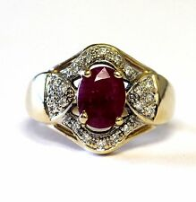 14k yellow gold .20ct SI3 H diamond Natural Ruby womens ring 8.3g estate vintage