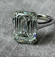 3.00 Ct Emerald Cut VVS1 Diamond Solitaire Engagement Ring 14K White Gold Over