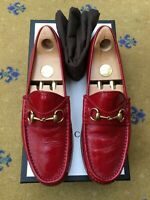 Gucci Mens Shoes Red Leather Horsebit Loafers UK 9.5 US 10.5 EU 43.5 1953