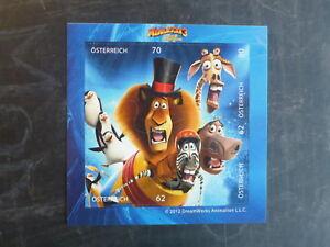 2012 AUSTRIA COMICS- MADAGASCAR 3 PEEL & GO STAMP MINI SHEET MNH