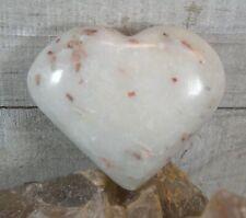 Cinnabar Quartz Crystal Heart Palm Stone Reiki Wicca Protection Abundance 25942E