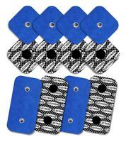 12 Electrodos con patrón de Plata para Compex, (8uds-50x50mm y 4uds.-50x100mm)