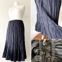 HOBBS Grey Blue Check Wool Flared Midi Skirt UK8 Smart Casual Work