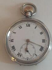 Reloj de bolsillo Vintage década de 1930 Suizo Movimiento Mecánico, Plata Maciza para hombre, para piezas