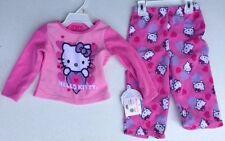 HELLO KITTY NWT Girl 2PC Pajama PJ's Fleece Top Pants Pink Heart Warm Twin 2 2T