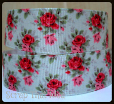 "Vintage Roses  RIBBON  7/8"" Grosgrain. GREEN. Scrapbooking/Craft. Floral,Flowers"