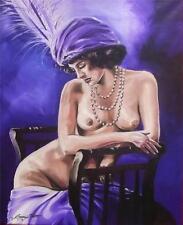 Dipinto ORIGINALE OLIO SU TELA DA Gregory Tillett: CADUTI Showgirl