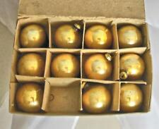 "Vintage Gold Glass Christmas Balls 1"" Set of 11 in Original Box"