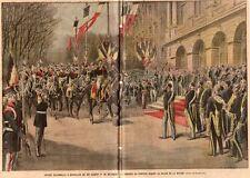 BRUXELLES ENTREE DU ROI ALBERT 1ER DE BELGIQUE PALAIS NATION IMAGE 1910 PRINT