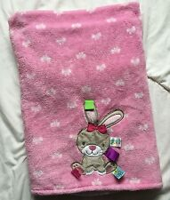 Taggies Pink Rabbit Blanket White Back Bow Brown  Bunny Ribbon Loop Tag Heart