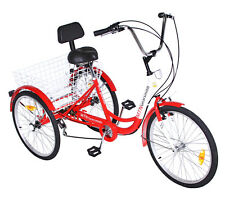 "NEW 3-Wheel Adult 24"" Tricycle 7-Speed Shimano Gears Bike Bicycle ~ Red"