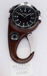 Regent Taschenuhr/Gürteluhr mit Licht Lupe Kompass und Karabiner UVP* 59,90 EUR