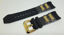 Invicta Russian Diver Black Polyurethane Strap Band Gold Inserts
