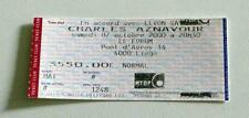CHARLES AZNAVOUR rare billet ticket concert Belgique Liege 07/10/2000