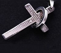 LARGE SILVER CROSS RING ON CHAIN LORDS PRAYER BIBLE PENDANT NECKLACE UK SELLER