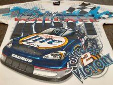 VTG 90s NASCAR #2 Rusty Wallace Miller Lite Racing All Over Print T Shirt Medium