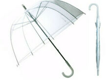 "46"" Adult Clear Bubble Dome Umbrella Plastic Auto Open Rain Rainstopper Arc"
