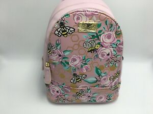 Luv Betsey Johnson Floral Bees Mini Size Backpack Pink Multi Gold Details SEALED